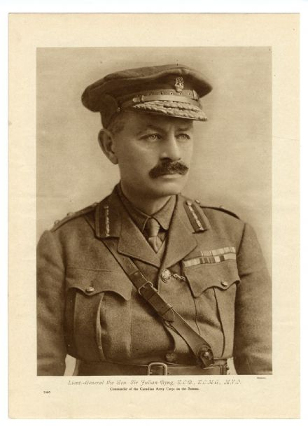 1916 WW1 PRINT Lieut. General Sir Julian Byng FRENCH ADVANCE SOMME Aerial View